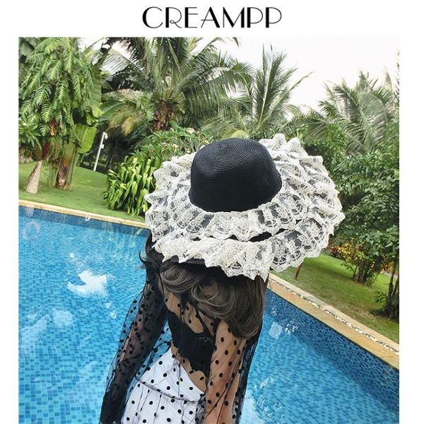 衫衫來時流行館-復古撞色Chic蕾絲洛麗塔海邊度假可折疊大檐遮陽草帽