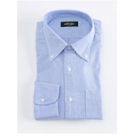 からみ織り ボタンダウンシャツ(ブルー) 【TEIJIN MEN'S SHOP】