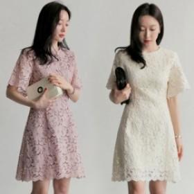 レースワンピース ドレス 総レース 膝丈ワンピース 半袖 Aラインワンピース パーティー ドレス 結婚式 二次会 韓国ファッション ピンク