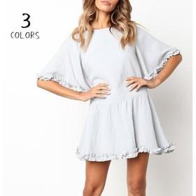 ワンピース ミニ丈 ショート 半袖 ラウンドネック レディースファッション 女性 服 夏 無地 単色 シンプル 可愛い