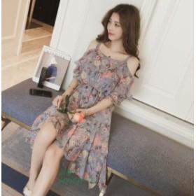 ワンピース レティース キャミワンピース オフショルダー 夏服 花柄 ミディアム丈 ファッション