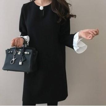 韓国 ファッション レディース ワンピース チュニック ミニ丈 長袖 フォーマル きれいめ 上品 シンプル お呼ばれ 二次会 同窓会 大人可愛