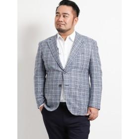 ジャケット - TAKA-Q MEN GRAND-BACK:【大きいサイズ】ラニフィーチョ ディ・プレイ/Lanificio di Pray ウール混チェック2釦シングルジャケット