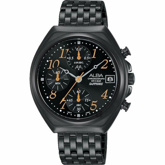 ALBA 雅柏 VD57-X119SD(AM3527X1) 日期顯示三眼計時時尚腕錶/黑 36mm