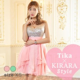ゴージャスビジューフレアミニドレス [ キャバ キャバドレス キャバ嬢 キャバクラ ドレス XS~Lサイズ 小さいサイズ 大きいサイズ Tika テ