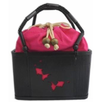 巾着 かご 籠 竹黒 バッグ 金魚 透かし彫り ピンク 浴衣 ゆかた 和装 着物 女性用