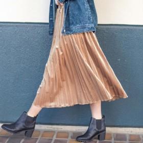 GeeRA ベロア素材プリーツスカート LL レディース 5,000円(税抜)以上購入で送料無料 フレアスカート 夏 レディースファッション アパレル 通販 大きいサイズ コーデ 安い おしゃれ お洒落 20代 30代 40代 50代 女性 スカート