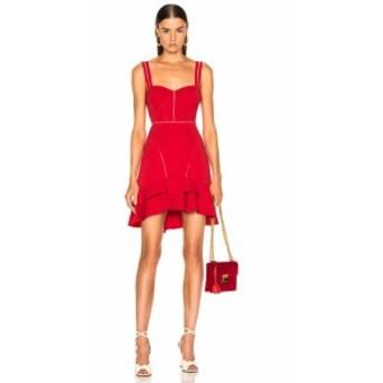 ジョナサン シンカイ JONATHAN SIMKHAI レディース ワンピース ワンピース・ドレス Crepe Combo Mini Ruffle Dress Fire Red
