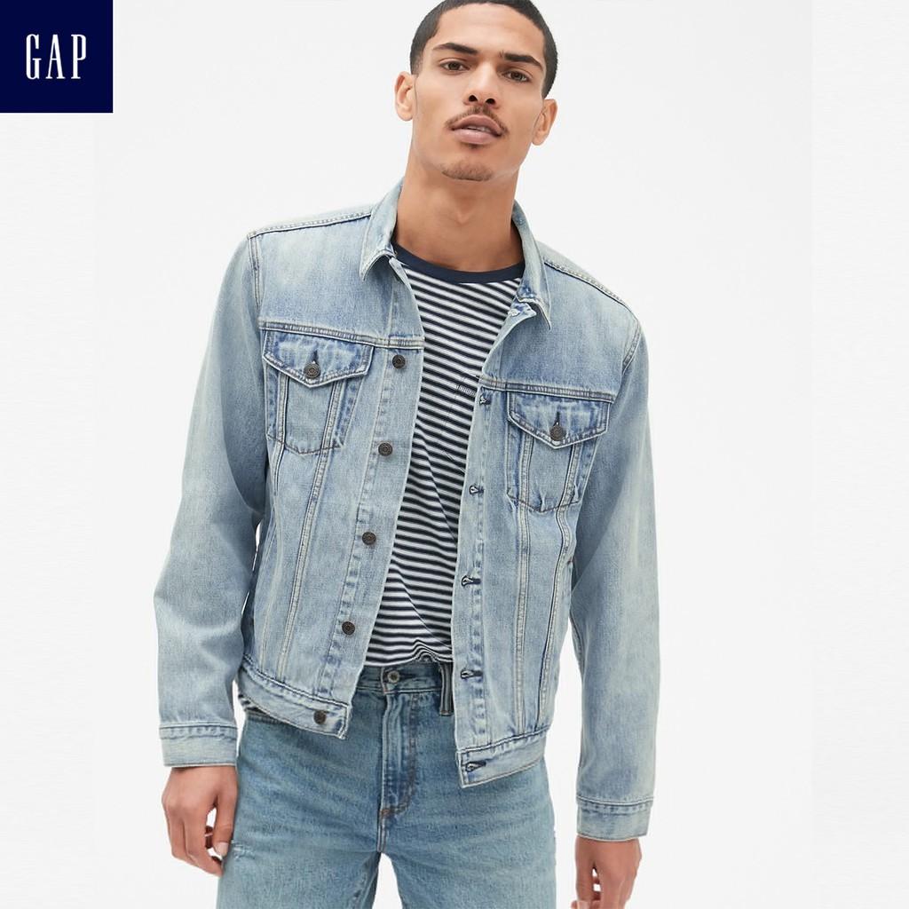 Gap男裝 淺色水洗長袖牛仔外套 440082-淺色水洗