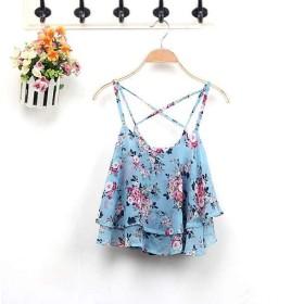 シフォン シャツ 花柄 ブルー フリル レディース トップス Tシャツ