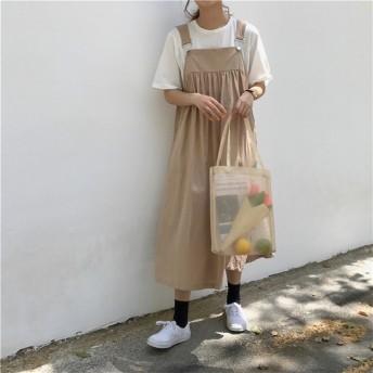 『送料無料』★韓国ファッション★カレッジ風 体型カバー ゆったり サロペット ワンピース 1枚でコーデが完成するオールインワン