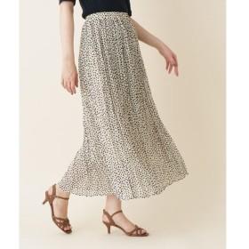 Couture Brooch / クチュールブローチ 【WEB限定販売/手洗い可】INNOWAVE(イノウェーブ)変形ドットシフォンプリーツロングスカート