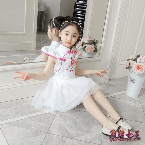 2019新款改良旗袍式夏季女童裝中國風唐裝小孩女孩公主禮服洋裝