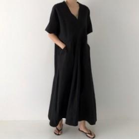 ワンピース レディース ファッション 韓国 レトロ風 Vネック シンプル ゆったり 大きいサイズ 体型カバー  半袖 ドレス