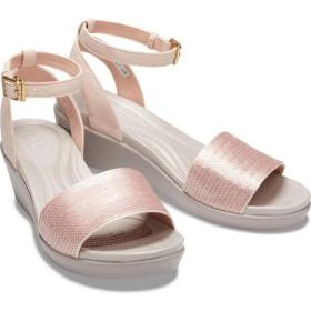 【クロックス公式】 クロックス レイ アン アンクル シークイン ウェッジ ウィメン Women's Crocs LeighAnn Ankle-Strap Sequin Wedge ウィメンズ、レディース、女性用 ピンク/ピンク 21cm,22cm,23cm,24cm,25cm wedge