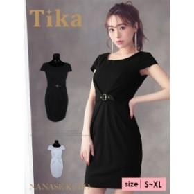 【Tika ティカ】ハイウエストベルト付きタイトミニドレス[黒/グレー][S/M/L/XL]