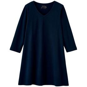 【レディース大きいサイズ】 VネックTシャツ(7分袖)(綿100%)(L-10L) ■カラー:ネイビー ■サイズ:5L,6L,7L-8L,9L-10L
