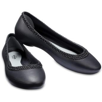 【クロックス公式】 クロックス リナ ディアマンテ フラット ウィメン Women's Crocs Lina Diamante Flat ウィメンズ、レディース、女性用 ブラック/黒 21cm,22cm,23cm,24cm,25cm,26cm flat フラットシューズ バレエシューズ ぺたんこシューズ 30%OFF
