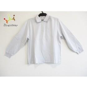 バーバリーズ Burberry's 長袖ポロシャツ サイズL レディース 美品 ライトグレー×黒  値下げ 20190929