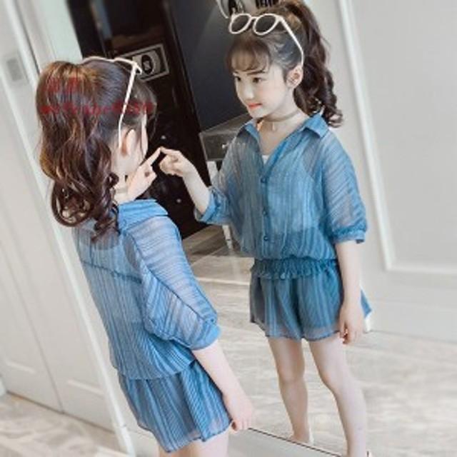 韓国子供服 女の子上下セット 入学式 発表会 トップス 160cm 女の子 半袖 110 スカート セットアップ キッズ Tシャツ 夏3点セット カジ