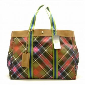 (バッグ)Vivienne Westwood ヴィヴィアン ウエストウッド オーブ トート ハンドバッグ GM ラージ 旅行鞄 レザー PVC 茶 ブラウン マルチカラー 2435V(k)