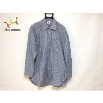 ランバン 長袖シャツ サイズ43-84 メンズ 美品 ブルー×イエロー イニシャル刺繍/ストライプ 値下げ 20190910