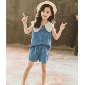 ファション 女児 2点セット 可愛い 子供服 上下セット 半袖トップス+ショート丈パンツ キッズ 110-160 ジュニア 学園風 女の子 セットア