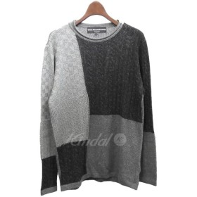 【SALE】 【30%OFF】 White Mountaineering 2018AW「ROUND NECK CONTRASTED KNIT」パッチワークニットセーター サイズ:1 (渋谷店)