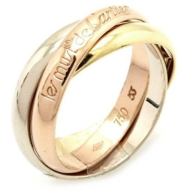 Cartier カルティエ トリニティ リング 指輪 3連 スリーカラー K18 750 YG WG PG イエロー ホワイト ピンクゴールド 13号 #53 (中古) (k)