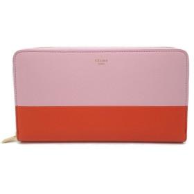 (財布)CELINE セリーヌ ラウンドファスナー 長財布 レザー ラムスキン バイカラー ピンク オレンジ 103983XTM(k)
