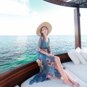 リゾートワンピース シフォン ロング丈 七分袖  フレア袖 花柄 ゆったり フェミニン 春夏 セット