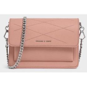 【2019 FALL 新作】トップステッチディテール クロスボディーバッグ / Top Stitch Detail Crossbody Bag(Pink)