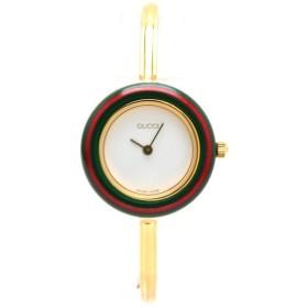 GUCCI グッチ チェンジベゼル ホワイト文字盤 GP レディース QZ クォーツ 腕時計 11/12.2 (中古) (u)