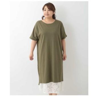 eur3 / 【大きいサイズ】デザインインナー付きTシャツワンピース