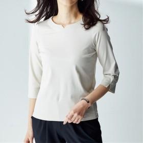 【レディース】 キーネック7分袖Tシャツ(綿100%) ■カラー:グレージュ ■サイズ:S,M,L,LL,3L