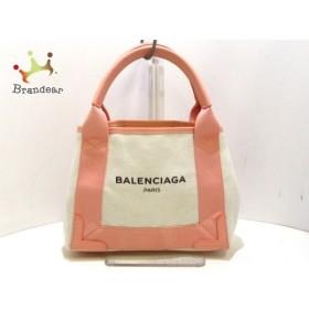 バレンシアガ BALENCIAGA ハンドバッグ 新品同様 ネイビーカバスXS 390346 アイボリー×ピンク  値下げ 20190701