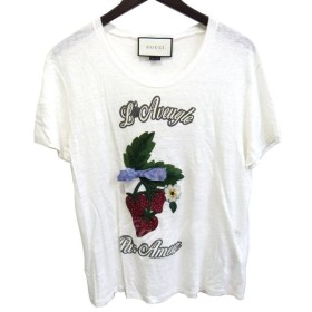GUCCI 17SS 「Applique Linen T-Shirt」刺繍プリントTシャツ ホワイト サイズ:S (銀座店) 190523