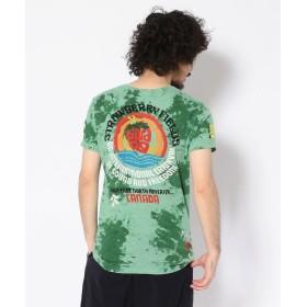【50%OFF】 RAWLIFE birdog/バードッグ/hand embroidery tye dye t shirts STRAWBERRY FIELDS /手刺繍 メンズ GREEN M 【RAWLIFE】 【セール開催中】