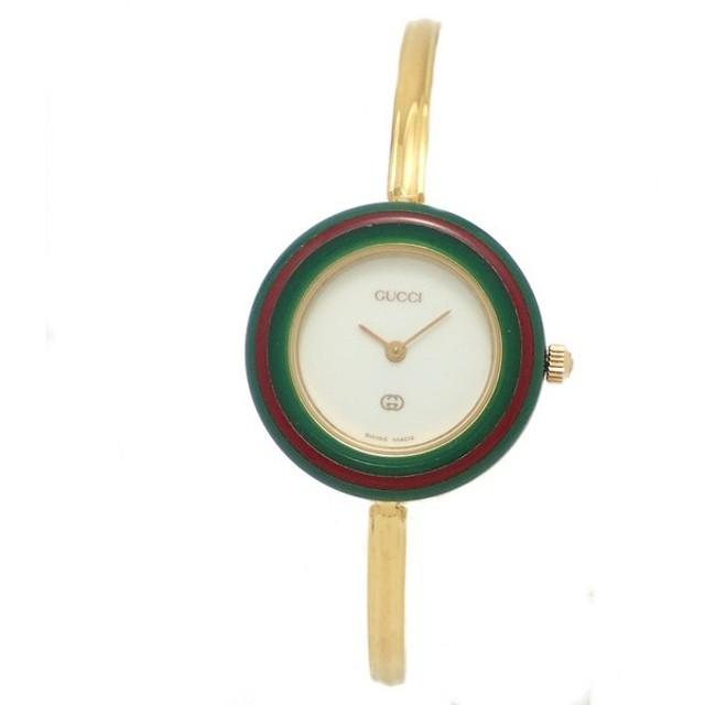 (ウォッチ)GUCCI グッチ チェンジベゼル ホワイト文字盤 GP ゴールドメッキ レディース QZ クォーツ 腕時計 12色 12カラー 11/12(k)