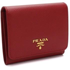 プラダ PRADA サフィアーノ メタル 3つ折り財布 小銭入れ付き 1MH176 QWA F068Z FUOCO レッド系