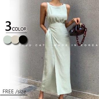 ◆2019韓国ファッション ワンピース 半袖 春夏の ロングワンピ コットンリネン 、ウエストが調整