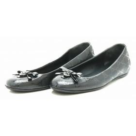 (靴)GUCCI グッチ GGインプリメ バレエシューズ フラットシューズ PVC 黒 ブラック #36 23cm 230834 (中古) (k)