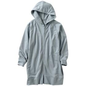 【レディース】 大容量ポケット付きロングパーカ ■カラー:グレイッシュブルー ■サイズ:M,L,LL,3L,S