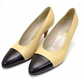 (靴)CHANEL シャネル バイカラー 2トーン パンプス ミドルヒール レザー ベージュ 黒 ブラック サイズ36 1/2E 23cm(u)