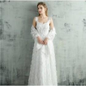 ウェディングドレス 大きいサイズ 白 二次會 花嫁 激安 大人気 ふわふわフェザー ホルターネック ウェディングドレス 白 二次