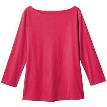 50%OFF【レディース】 ダブルフロントボートネック7分袖Tシャツ - セシール ■カラー:ピンク ■サイズ:3L