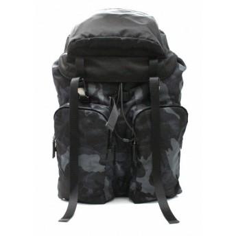(バッグ)PRADA プラダ バックパック リュック リュックサック ショルダーバッグ ナイロン レザー 黒 ブラック カモフラージュ メンズ V136(k)