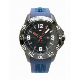 (ウォッチ)TOMMY HILFIGER トミー ヒルフィガー デイト SS ラバーベルト ブラック文字盤 メンズ クォーツ 腕時計 0887859491 (k)