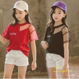 子供服 半袖Tシャツ キッズ デザイン 通学着 女の子 可愛い 春 レッド ブルー 通園着 韓国子供服 半袖トップス ブラック おしゃれ ガール