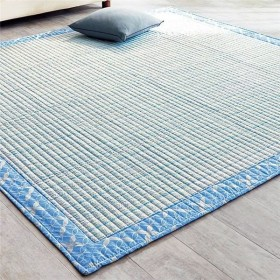 しじら織り ラグマット/絨毯 〔約130cm×190cm ブルー〕 長方形 綿100% 洗える 防滑 シボ加工 〔リビング〕【配達日時指定不可】
